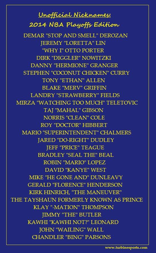 Nicknames2014NBAPlayoffs